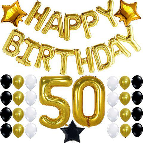 Store 50th BIRTHDAY PARTY DECORATIONS KIT Happy Birthday Foil Balloons 50 Number Balloon Gold Balck Gold and White Latex Balloons Perfect 50 Year Old Party Supplies