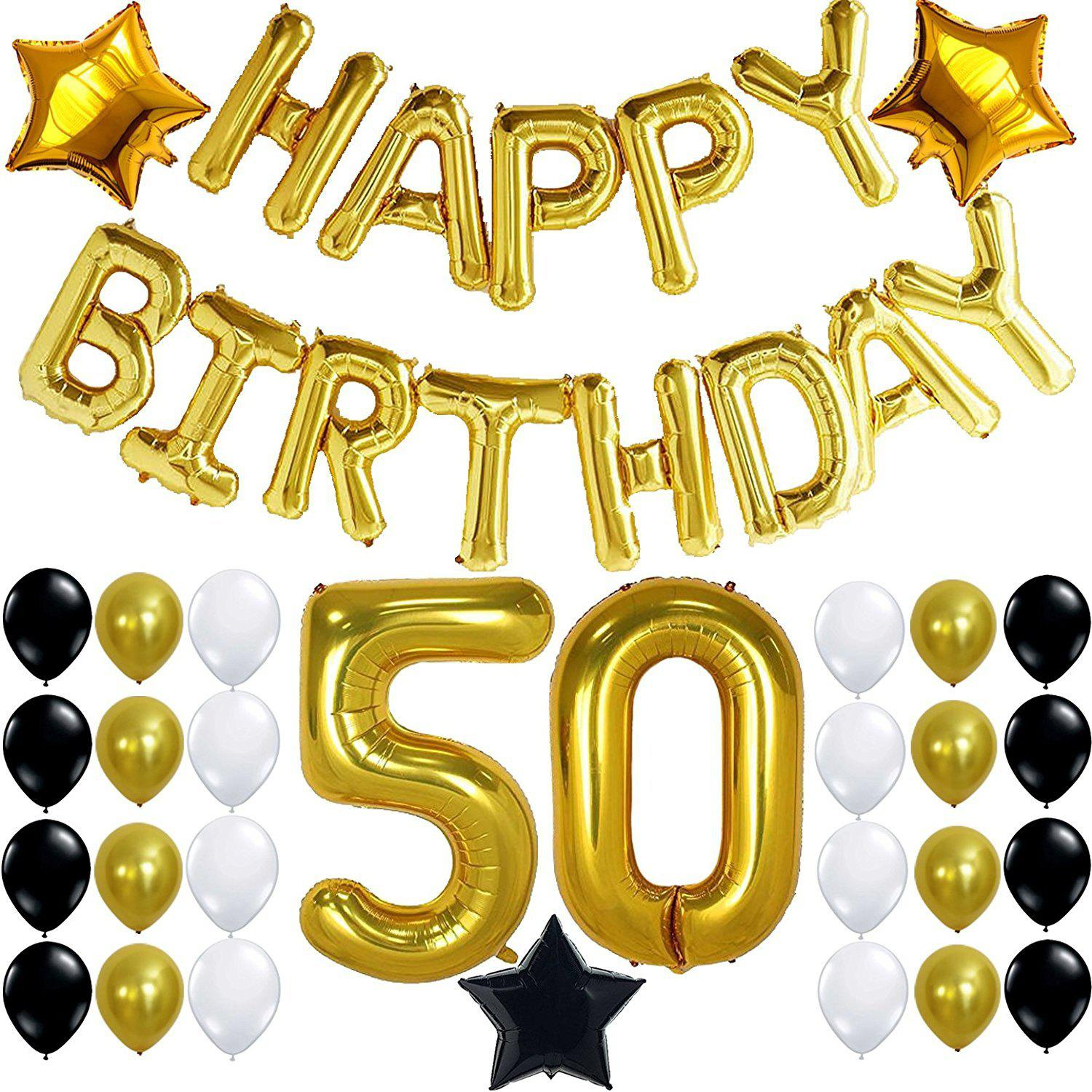 Store 50th BIRTHDAY PARTY DECORATIONS KIT Happy Birthday Foil Balloons 50 Number Balloon Gold Balck