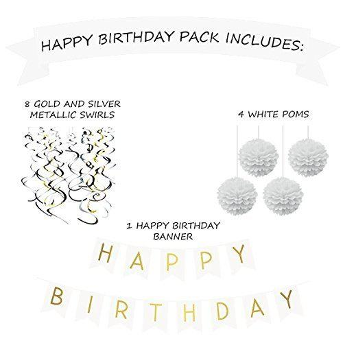 Store Birthday Party Pack White Happy Bunting Poms And Swirls Decorations 21st 30th