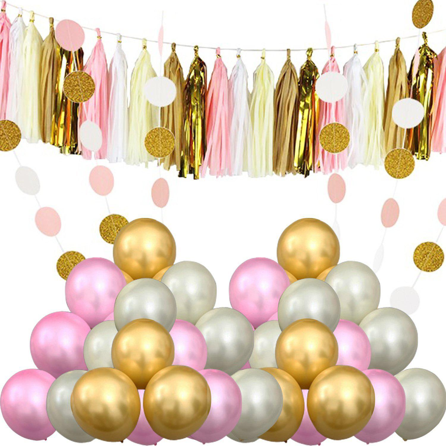 Outfits Party Supplies and Party Decorations 60 Pcs Party Balloons Paper Tassel Polka Dot Paper Perfect for Birthdays Weddings