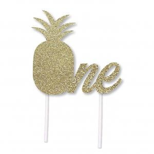 2pcs Gold Glitter Pineapple Birthday Cake Topper for 1st Birthday Party luau hawaii Themed -