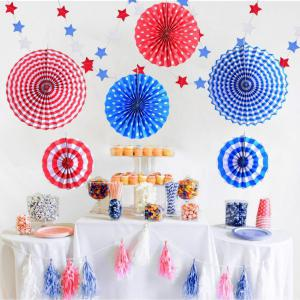 8pcs Paper Fans Party Decoration Colorful Hanging Paper Fans Set and Star Streamers Patrioticfor Party Birthday Events Supplies (Red/White/Blue) -