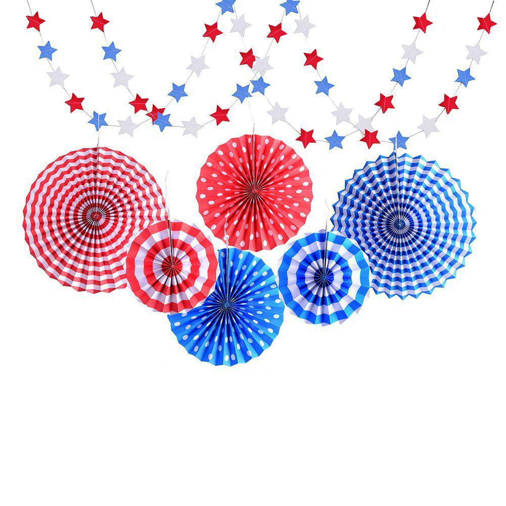 Outfit 8pcs Paper Fans Party Decoration Colorful Hanging Paper Fans Set and Star Streamers Patrioticfor Party Birthday Events Supplies (Red/White/Blue)