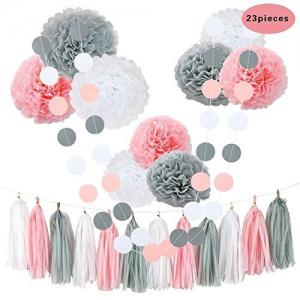 23Pcs Tissue Flowers Pom Poms Party Girl Paper Decorations First Birthday Girl Baby Shower Decorations -