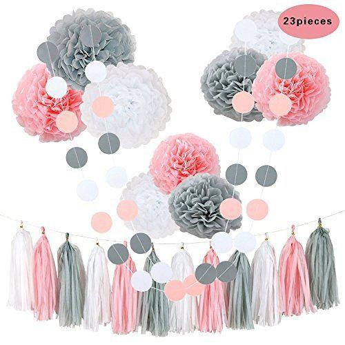 Trendy 23Pcs Tissue Flowers Pom Poms Party Girl Paper Decorations First Birthday Girl Baby Shower Decorations