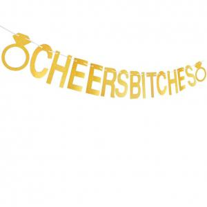 Cheers Bitches Banner With Gold Glitter Confetti For Bridal Shower Bachelorette Party Birthday Gold Party -