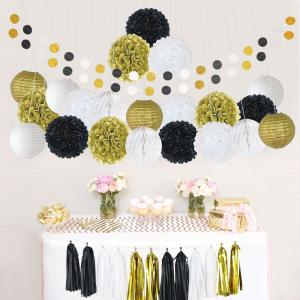 81Pcs Tissue Paper Pom Poms Flowers Kit Paper Lanterns Hanging Dot paper Garland Honeycomb Balls Tissue Tassels for Wedding Party Decoration Birthday Kids Bridal Shower Baby Shower -