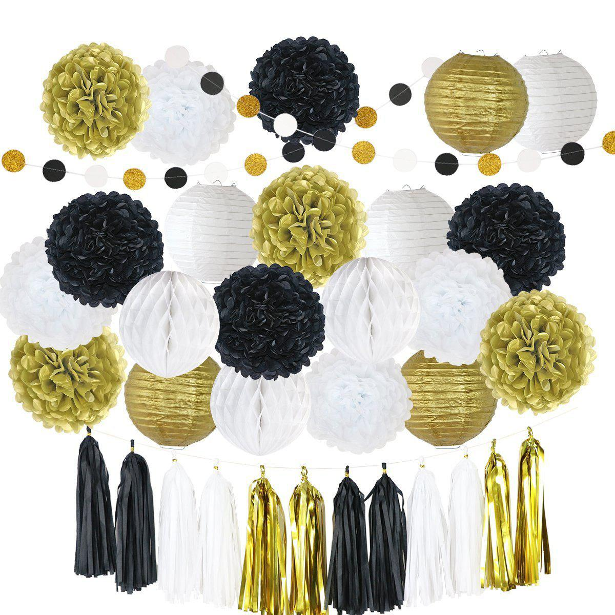 Black gold 81pcs 81pcs tissue paper pom poms flowers kit paper shop 81pcs tissue paper pom poms flowers kit paper lanterns hanging dot paper garland honeycomb balls mightylinksfo
