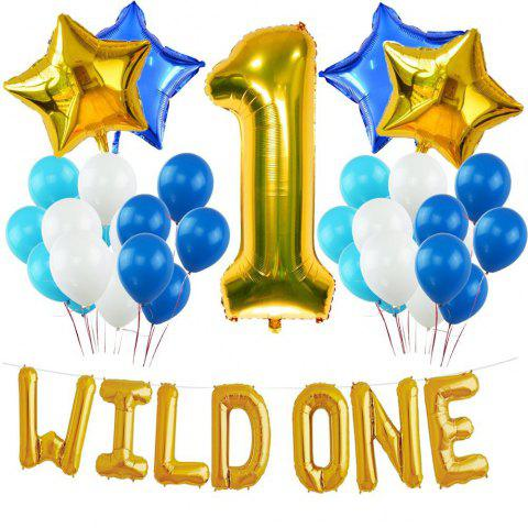 As The Picture 1st Wild One Birthday Decoration Kit Blue And White ...