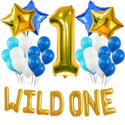 WILD ONE BIRTHDAY DECORATION KIT Blue and White Balloons Set Perfect for 1st Bday Party Supplies Girl or Boy -