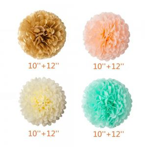 55pcs Mint Gold Peach Cream Baby Shower Decorations Party Balloons Paper Garland Tissue Paper Pom Poms Flowers Kit -