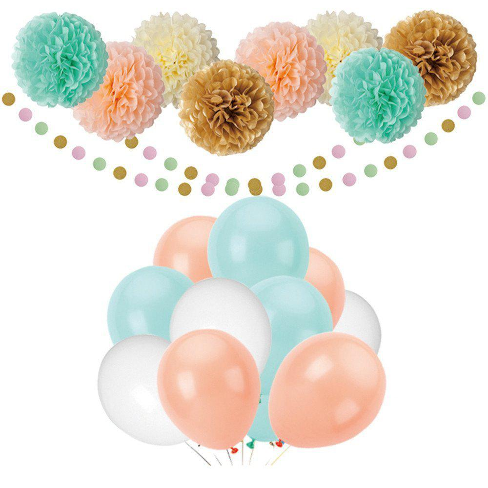 Outfit 55pcs Mint Gold Peach Cream Baby Shower Decorations Party Balloons Paper Garland Tissue Paper Pom Poms Flowers Kit