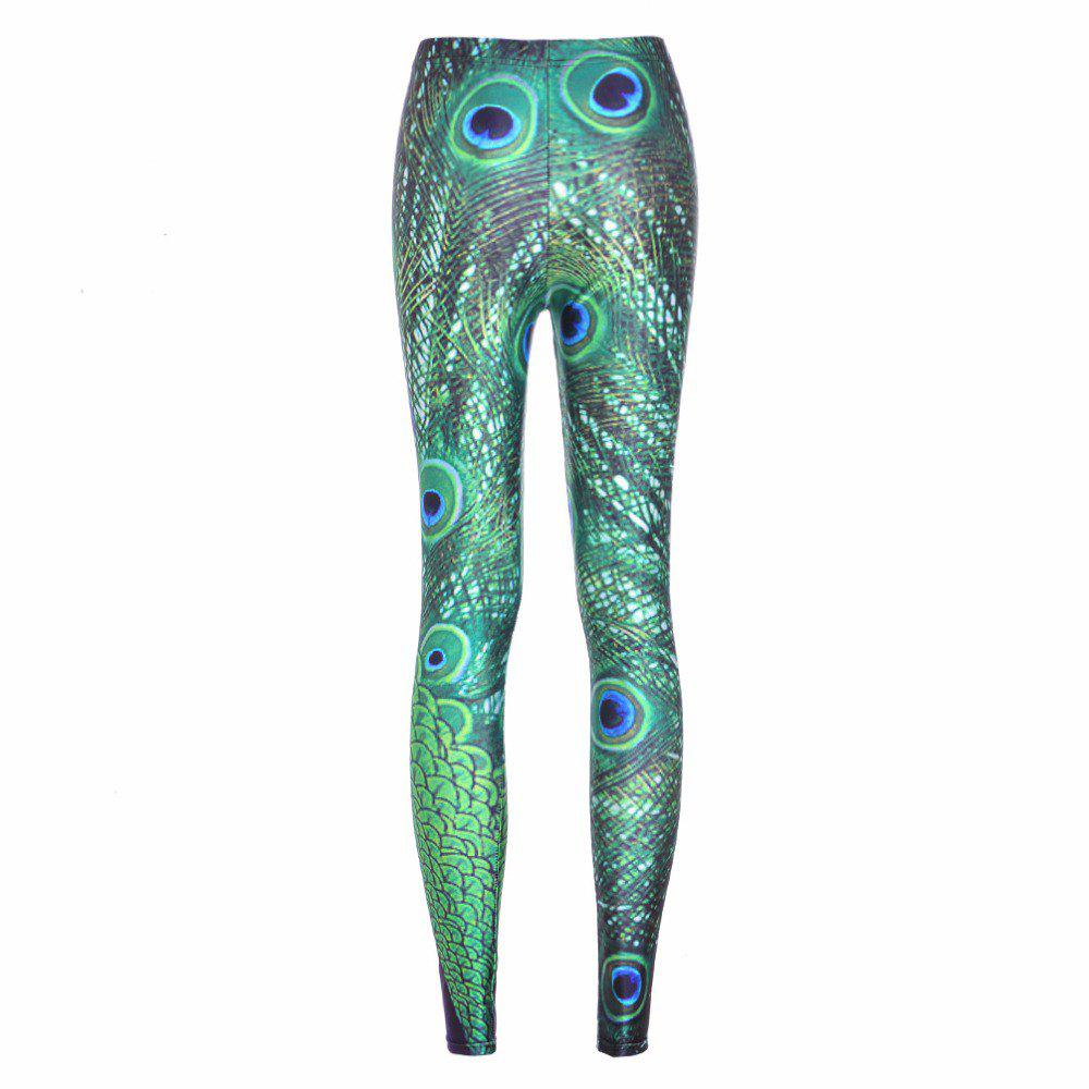 Cheap Women Legging Peacock Feather Printing Fashion High Waist Woman Flexible Pants