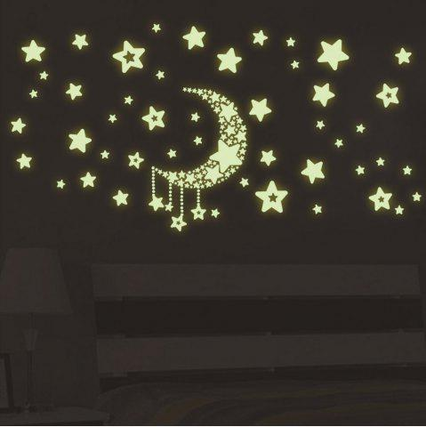 Luminous Stars Moon Wall Stickers Home Glow In The Dark Stars For Kids Baby Room DIY Wall Art