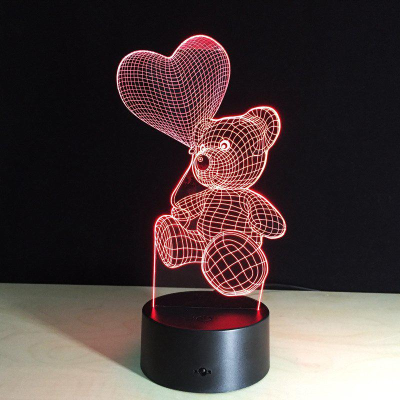 Unique YEDUO  Cartoon Cute Bear Hold Heart Shape Acrylic LED Lamp 3D Night Light For baby