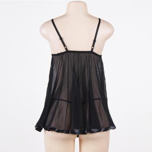 Lace Transparent Mesh Condole Belt Large Nightgown Suit -