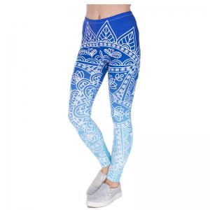 3D Digital Printing Blue Series Leggings -