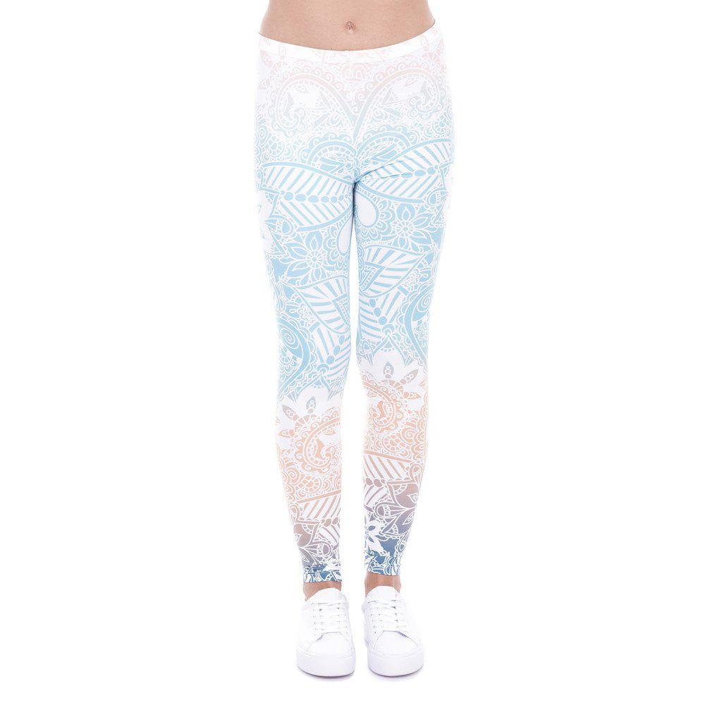 Chic 3D Digital Printing Blue Series Leggings