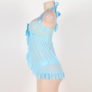 Large Sexy Lingerie Cardigan Lace Sexy Nightgown Suit -