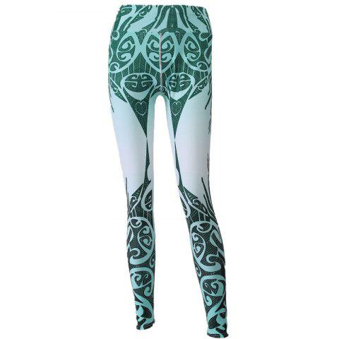 Unique 2017 New Blue and White Porcelain Digital Printing Hip High Waist Yoga Leggings