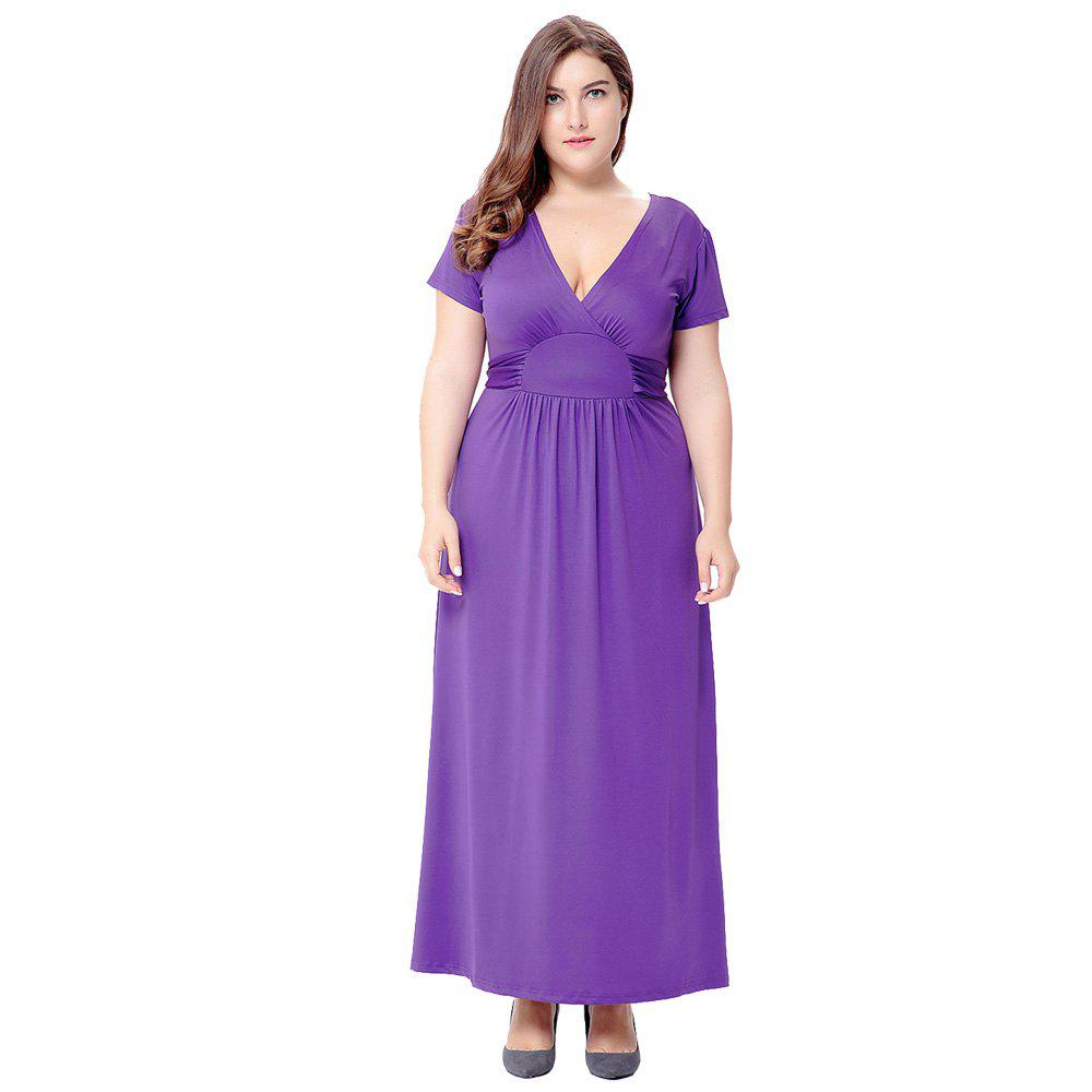 Solid V Neck Short Sleeve Club Party Plus Size Dress