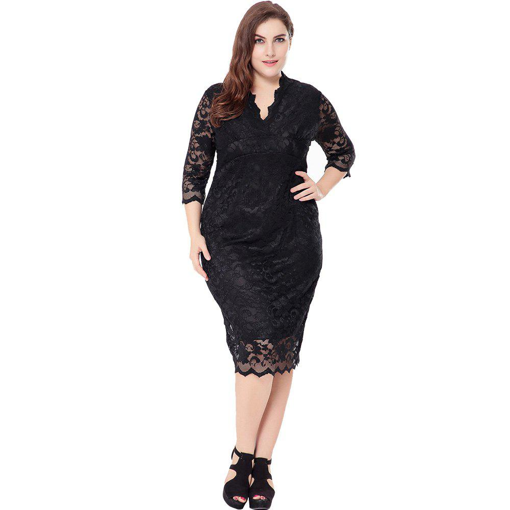 46d322701f10 44% OFF] Sexy Cut-Out Lace Plus Size Dress | Rosegal