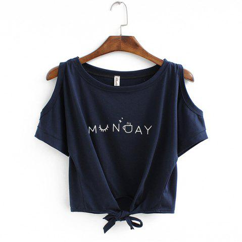 Affordable Women's T Shirt O Neck Short Sleeve Bow Letter Pattern Comfy Regular Tops