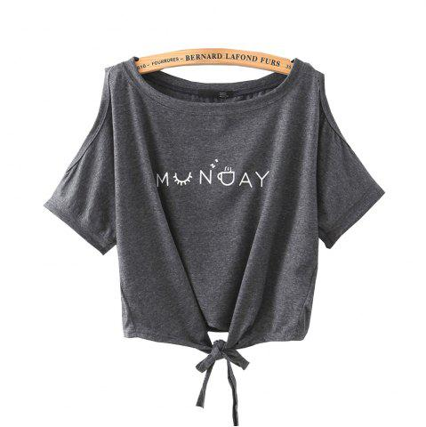 Online Women's T Shirt O Neck Short Sleeve Bow Letter Pattern Comfy Regular Tops