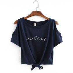 Women's T Shirt O Neck Short Sleeve Bow Letter Pattern Comfy Regular Tops -
