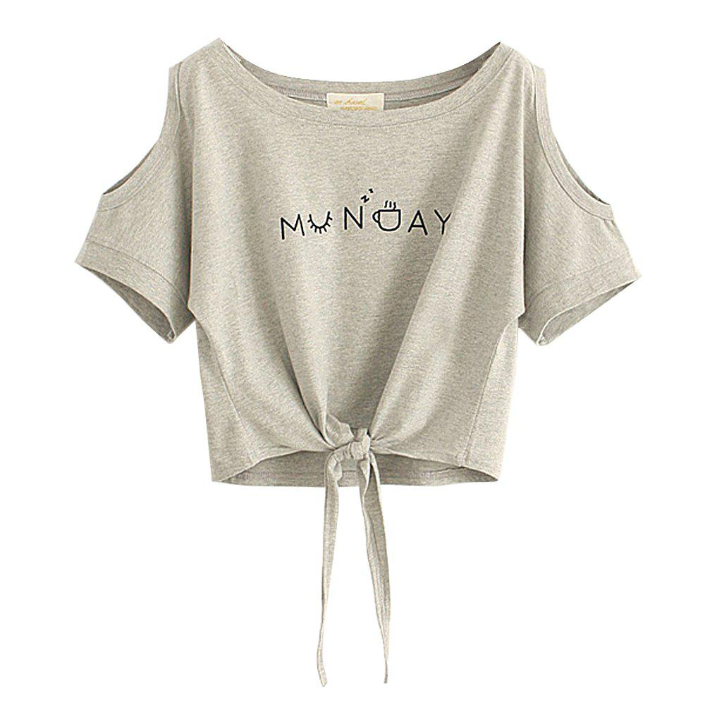 Chic Women's T Shirt O Neck Short Sleeve Bow Letter Pattern Comfy Regular Tops