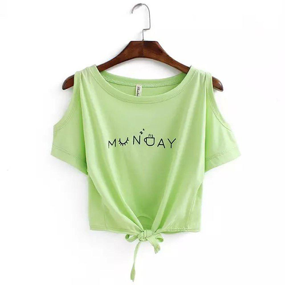 Fashion Women's T Shirt O Neck Short Sleeve Bow Letter Pattern Comfy Regular Tops