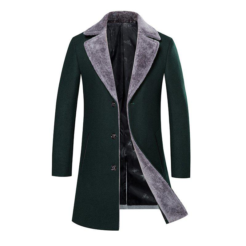 77fee0362642 2019 Men s Trench Coat Turn Down Collar Thickened Solid Color Button ...