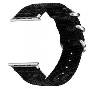 42mm Woven Nylon for iWatch Series 3/2/1 Band Replacement Strap With silver Adapters -