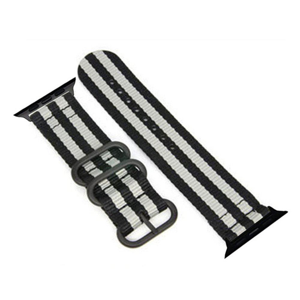 Fashion 42mm Woven Nylon for iWatch Series 3/2/1 Band Replacement Strap With Black Adapters