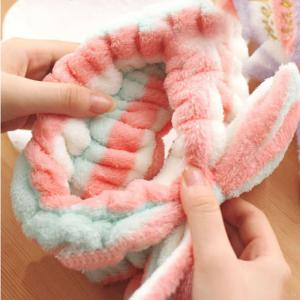 put on makeup motion Hair towel Lovely bandeau bowknot Flannelette Baotou cloth -