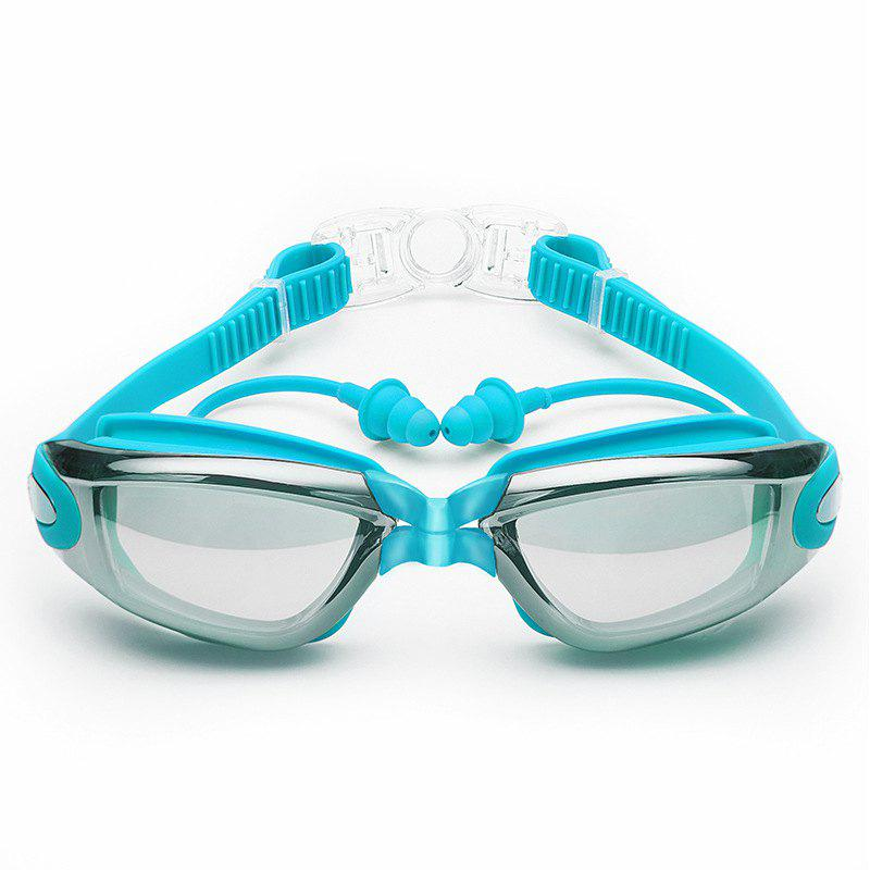 Sale Swimming Goggles with Protective Case Nose Clip and Ear Plugs Mirrored  Clear Anti Fog Waterproof