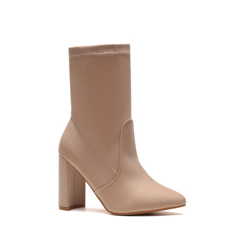 Buy Autumn and Winter New High-Heeled Thin-Legged Thick-Heeled Pointed in The Barrel of Socks Boots