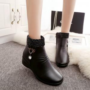 Winter Women 'S Middle-Aged and Elderly Flat Slope with Cashmere Thermal Non-Slip Shoes Martin Boots -