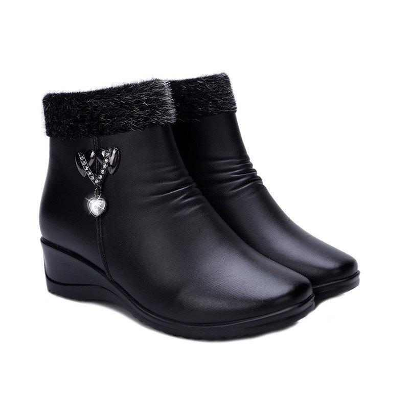 Fashion Winter Women 'S Middle-Aged and Elderly Flat Slope with Cashmere Thermal Non-Slip Shoes Martin Boots