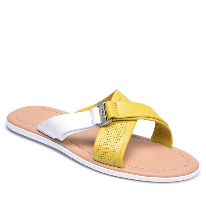 Cheap Summer Beach Shoes Cool Feeling Soft Leather Fashionable Men Sandals