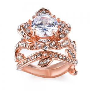 Rose Gold Charm Womens Fashion Wedding Ring -