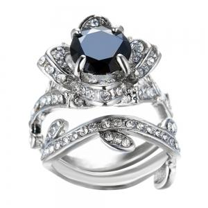 Black Crystal Fashion ladys Engagement Ring -