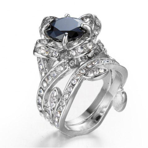 Trendy Black Crystal Fashion ladys Engagement Ring