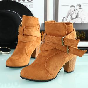 Thick With Two-button Point Female Fashion Short Boots -