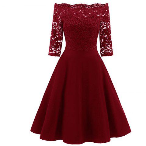 Outfits Fashion Boat Neck Lace Dress