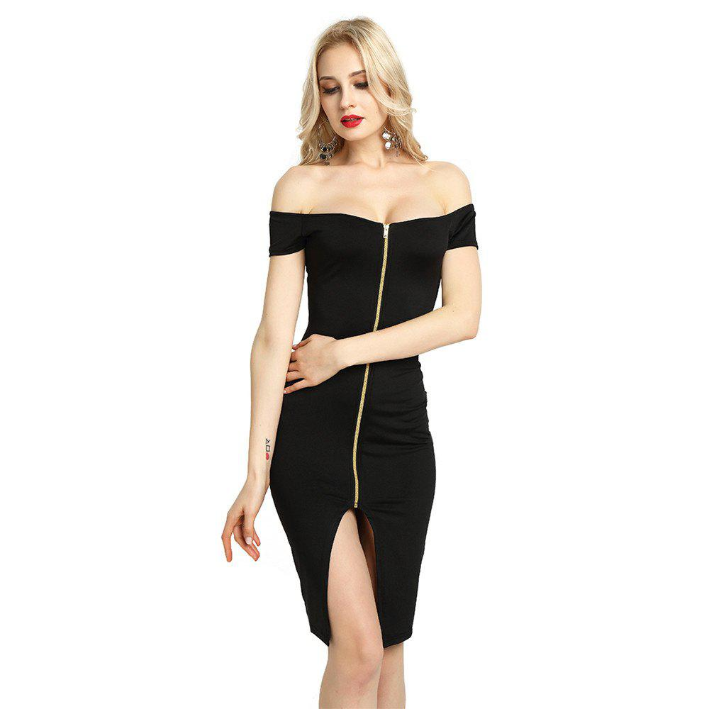 3e0ea64ee5a9 Chic Women Sexy Front Zip Up Irregular Off-Shoulder Casual Short Sleeve  Cocktail Dress