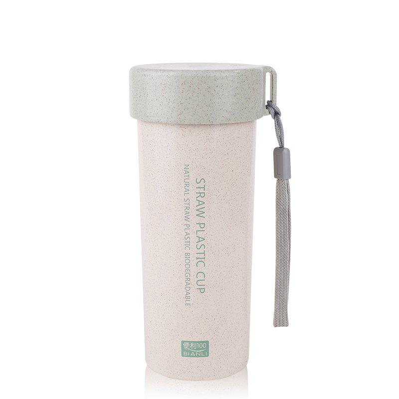 Online Female Student Portable Wheat Straw Plastic Cup with Cover and Rope Sling