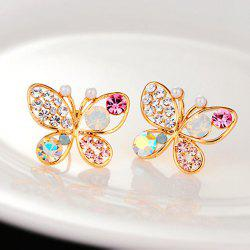 Pearl Butterfly Hollow Diamond Earrings -