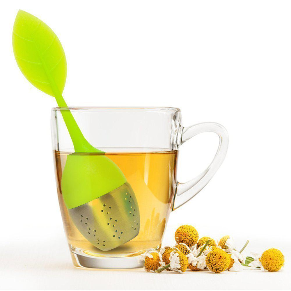 Store Silicone Leaf Handle Tea Infuser with Stainless Steel Strainer Filter for Loose Tea Fennel Tea Herbal Tea Green