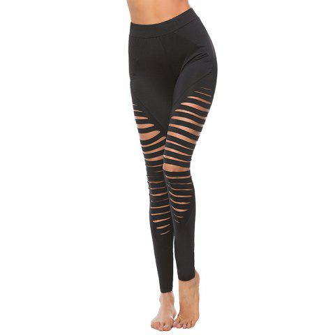 Online Women's Sexy Hollow Solid Color Yoga Leggings
